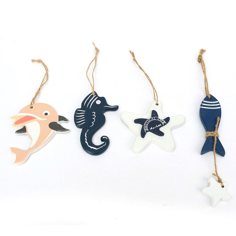 Color Random Mediterranean Style Cute Wooden Fish Star Dolphin Hanging <font><b>Nautical</b></font> <font><b>Decor</b></font> Boat Ship Beach Wall Ornament Wood craft