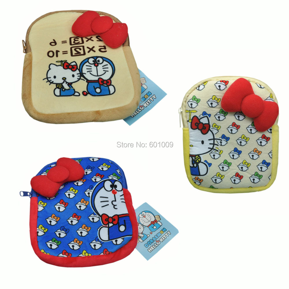 "Free Shipping EMS 100/Lot 3 Styles Lovely Sanrio Doraemon and Kitty style cosmestic bag / Coin bag 7.5""(China (Mainland))"