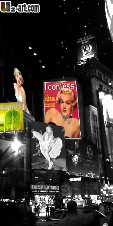 Canvas Prints (Times Square and Poster Marilyn Monroe) gift New York's night fine artwork oil painting Dd-6-jz-(309)(16*32 inch)(China (Mainland))
