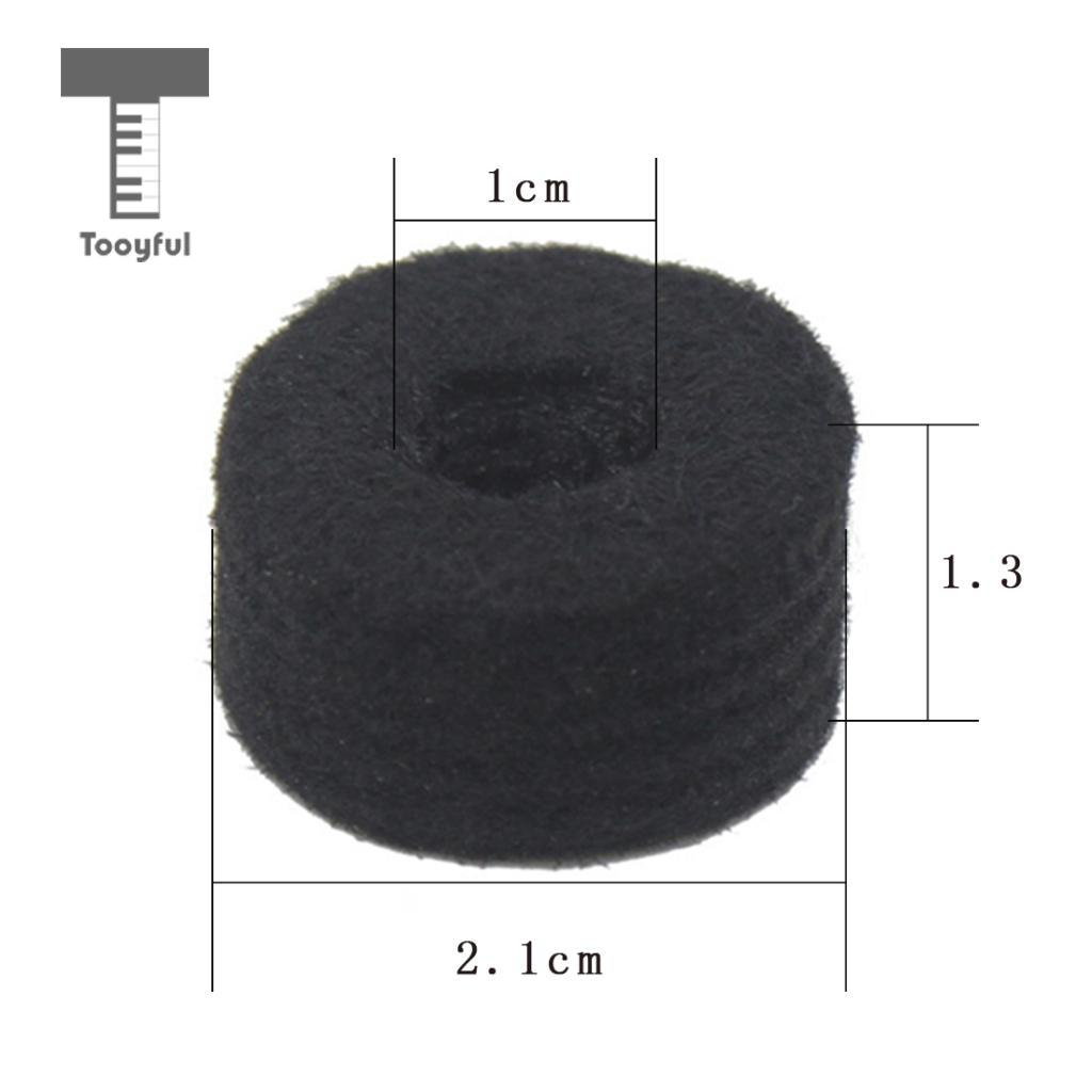 Tooyful Drum Kit Parts Hi-hat Stand Screw+Drum Key+Cymbal Clutch+Pedal Beater Hammer Head+Cymbal Felt Pads