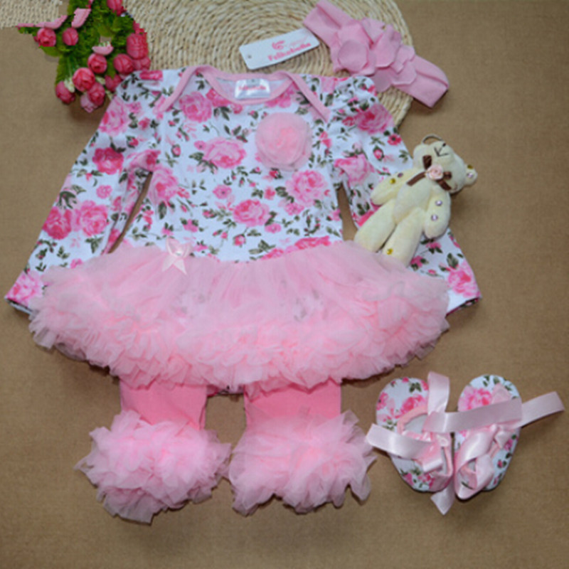 spring and autumn baby girls clothing set  flower print Princess infant clothes romper with kneepad shoes hairband 4 pieces<br><br>Aliexpress
