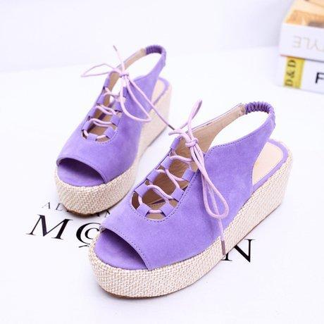Women summer sandals 2015 fashion Lace-up women platform medium heels open toe beach shoes LX10 - Focalbox store