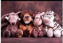 free shipping ,stuffed animals about 25cm jungle animal lion, tiger , giraffe , and elephant , one lot / 4 pieces toys b9999(China (Mainland))