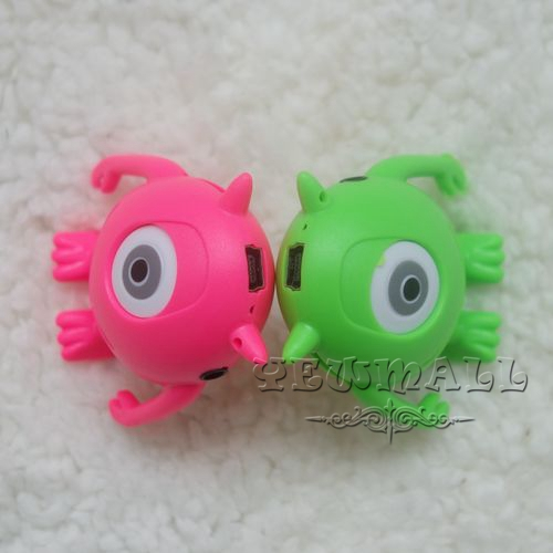 Wholesale - - 200pcs/lot Cute Colorful Monster Shape Clip Mp3 Player USB Cable+Good Quality Box+Earphones & Free Shipping(China (Mainland))