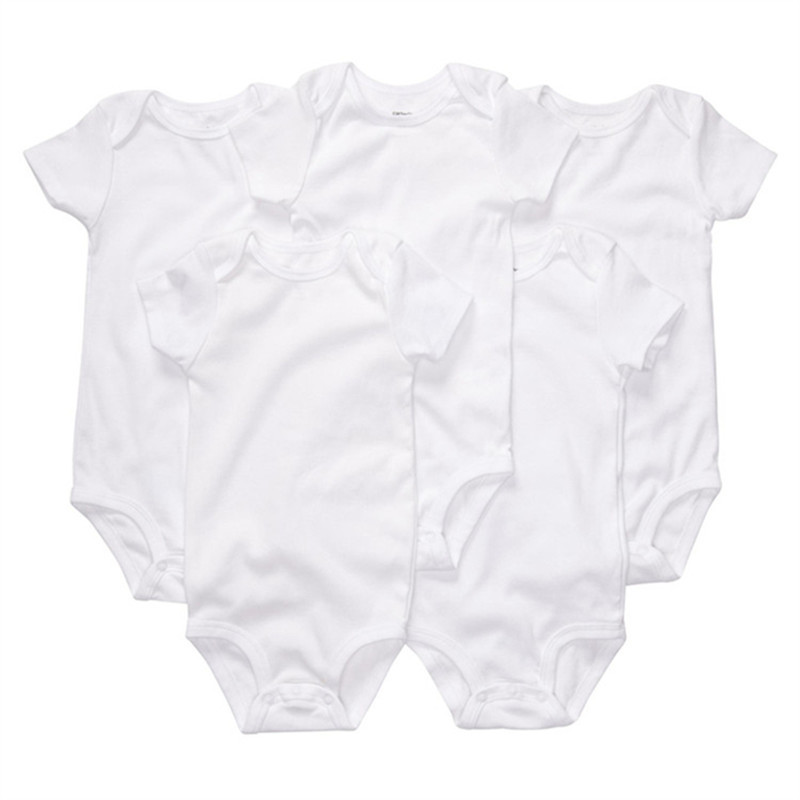 White BABY BODYSUITS 100%Cotton Short sleeve Body Baby Boy Girls Clothes Ropa De Bebe 5pcs/lot Similar Carters Bebe Clothing(China (Mainland))