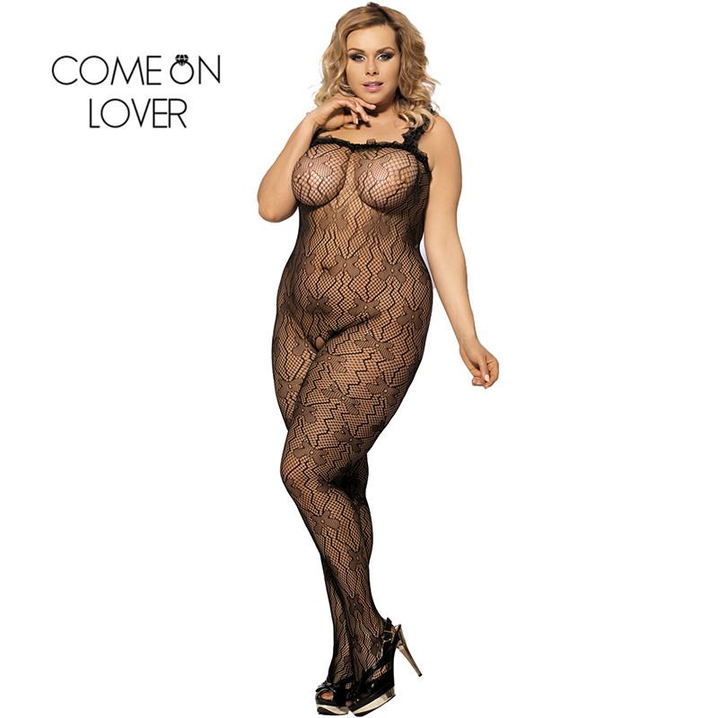 HI3139 Comeonlover Erotic Sex Shop Plus Size Bodystocking Lace Neck Fishnet Body Sex Lingerie Hollow Out Wholesale Mesh Bodysuit(China (Mainland))