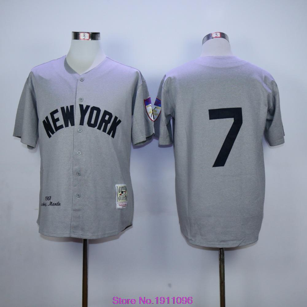 New York # 7 Mickey Mantle Jersey Embroidery Throwback Baseball Jersey 75th Years  Patch Size M-XXXL<br><br>Aliexpress