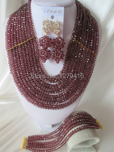 Fashion Nigerian African Wedding Beads Jewelry Set , Crystal Necklace Bracelet Earrings Set C0727<br><br>Aliexpress
