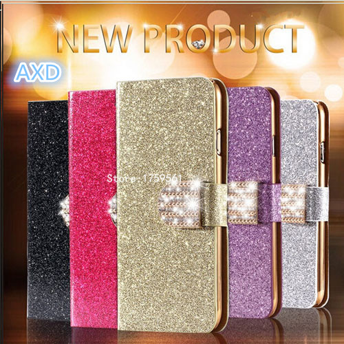 Luxury Glitter Diamond PU Leather Phone Case For HTC Desire 500 With card Holder Flip cover Cell Phone Case For HTC Desire 500(China (Mainland))
