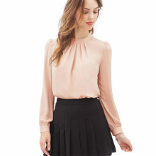 Women Elegant Stand Collar Chiffon Blouses 2016 Spring New Fashion Casual Long Sleeve Cute Sweet Shirts Tops Pink Black