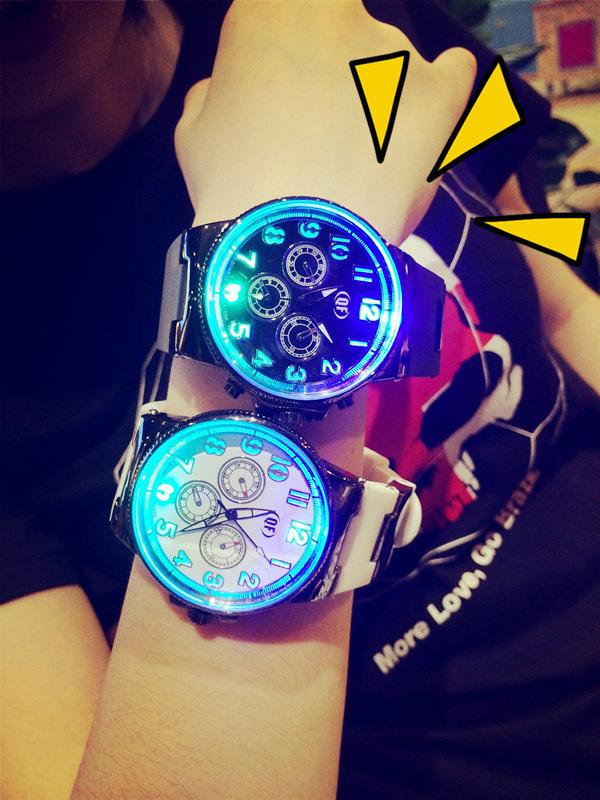 Relogio White Black Silicone Band Watches Women Men Fashion Luminous Glow Light LED Watch Wristwatches 24 Hours Shock Top SALE(Hong Kong)