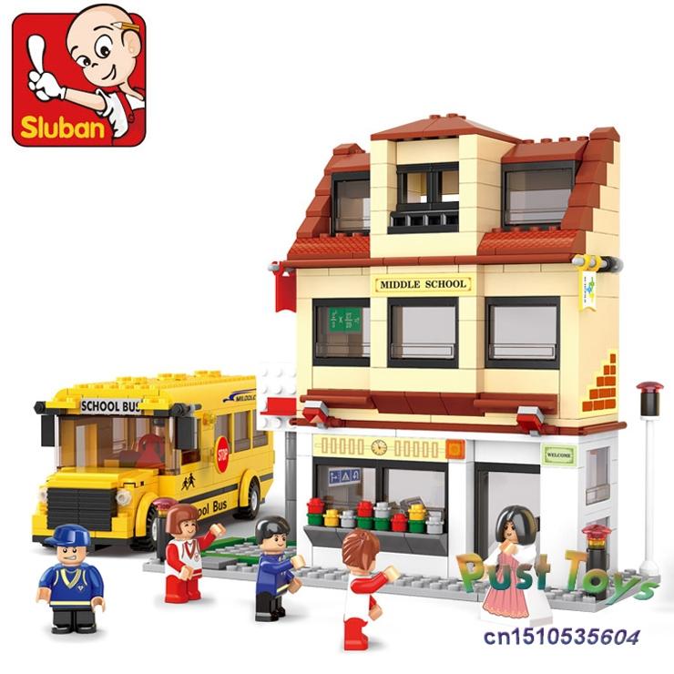 Free shipping!Sluban M38-B0333 496pcs school bus 3D building blocks sets,children's city bus toys educational construction brick(China (Mainland))