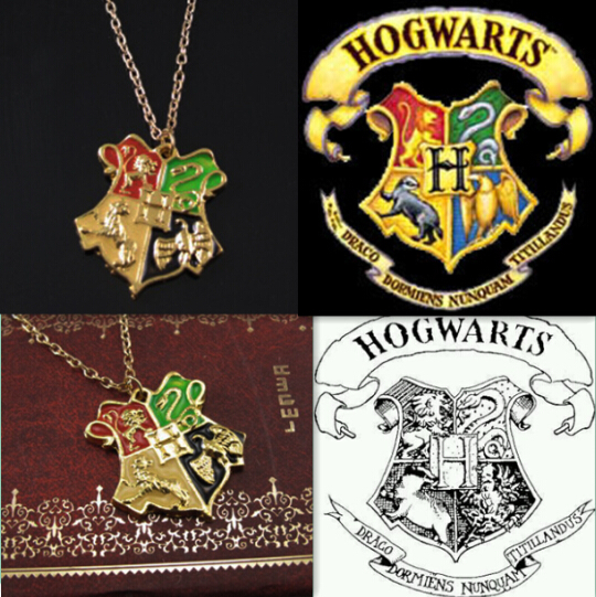 Harry Potter Jewelry Necklace Hogwarts School Badge Necklace College Pendant Gold Chain Necklace collares mujer colar