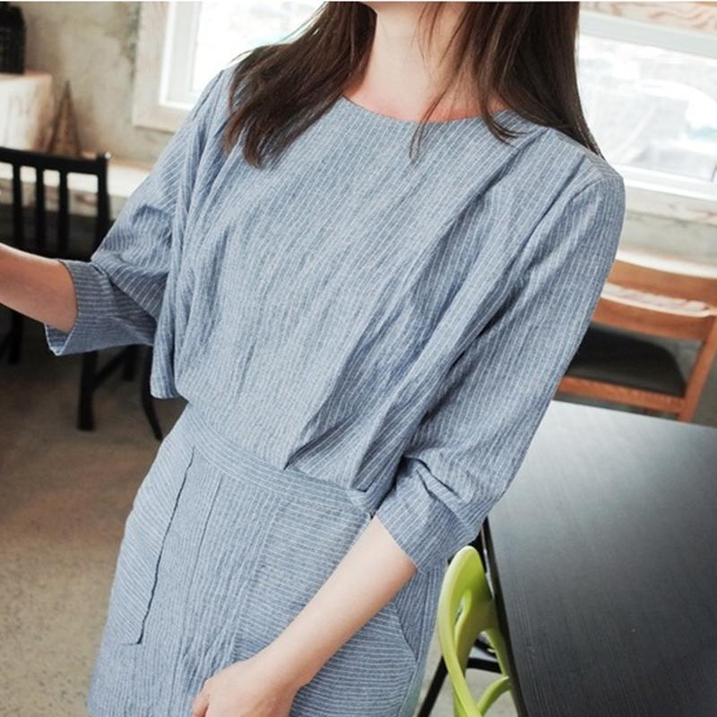 2016 Summer Fashion Plastic Waist Slim Stripe Cotton O-Neck Half Sleeve Linen dress with Button One Solid Color(China (Mainland))