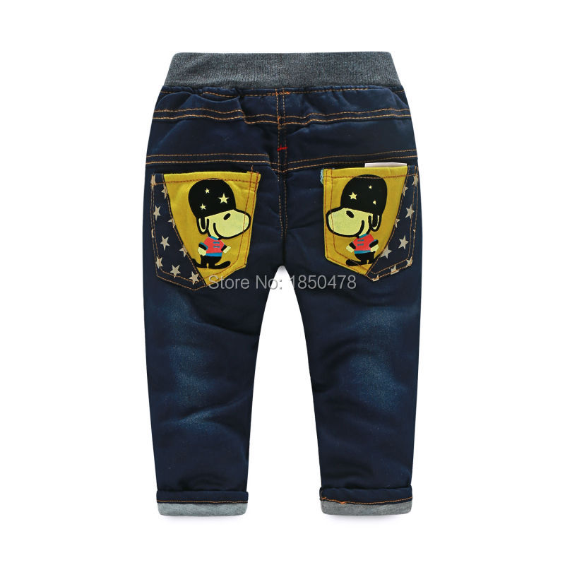 Free shopping for the new 2015 baby boy's clothes, cartoon guards winter children's boys jeans, kids thick cotton pants(China (Mainland))