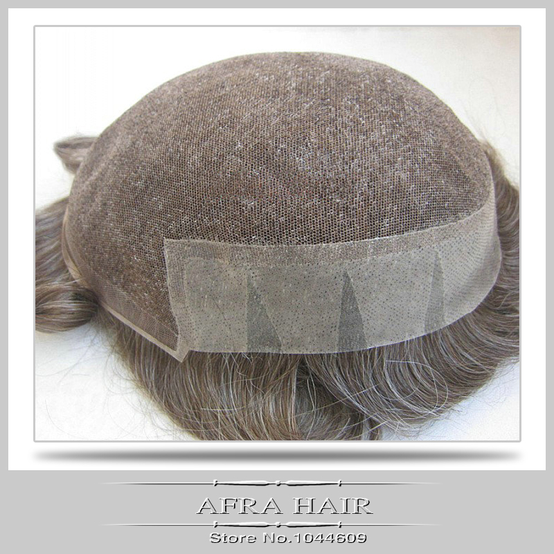 Afra Hair Replacement Systems French Lace and pu Men Toupee Hair 120% Density Short Hair H107(China (Mainland))