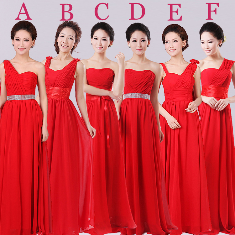 Red color strapless long floor length a line chiffon for Wedding dress red colour