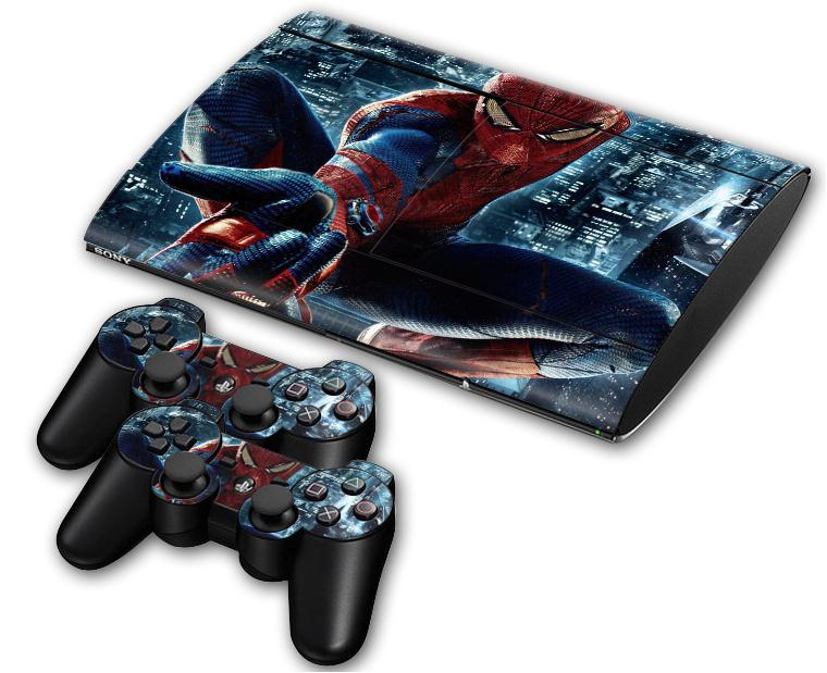 1Set Free Shipping Spiderman Vinyl Skin Sticker for PS3 Console Super Slim 4000 Games + 2PCS Stickers for PS3 Controllers Skins(China (Mainland))