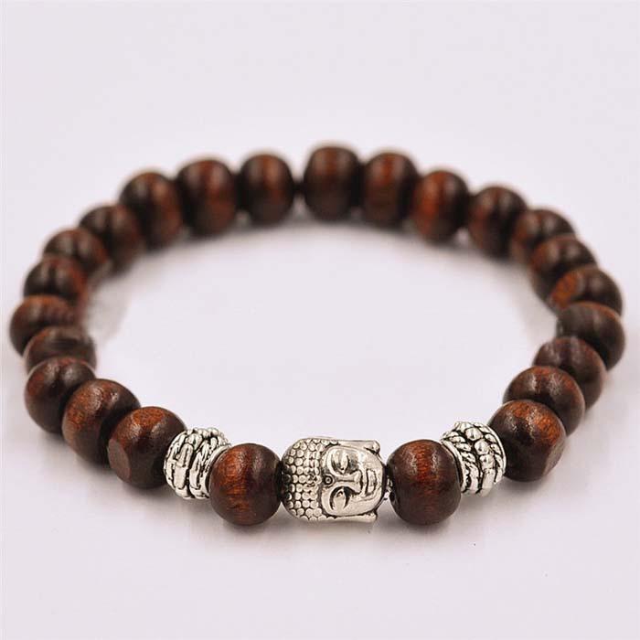 2015 Hot Selling Silver Buddha Head Wood Beaded Bracelet For Men(China (Mainland))