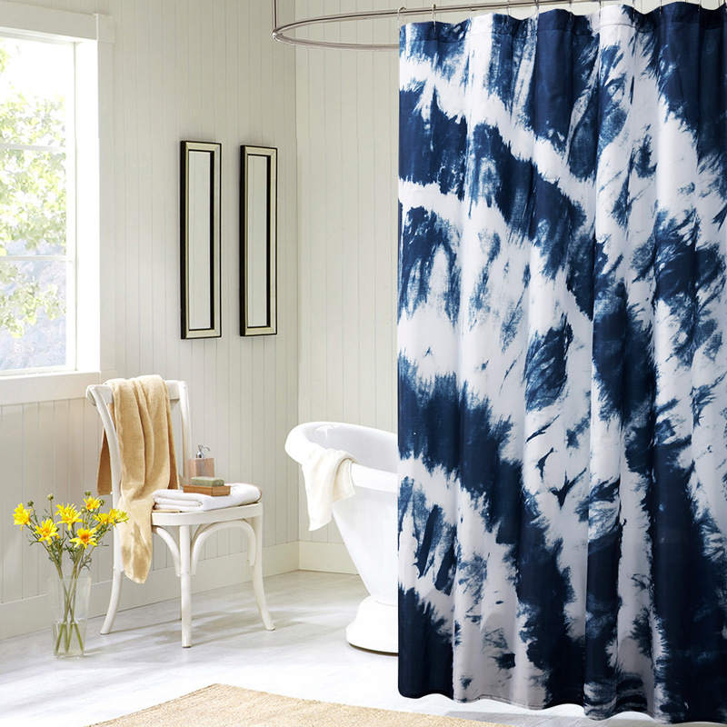 Modern Geometry Shower Curtain Blue And Black Shower