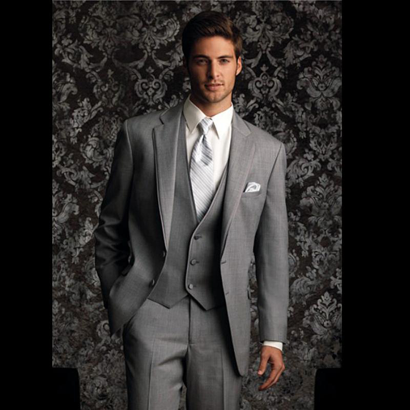 High Quality  New Custom Design Two Buttons Light Gray Groom Tuxedos Best Man Suits Groomsmen Men Wedding Suits Free ShippingОдежда и ак�е��уары<br><br><br>Aliexpress