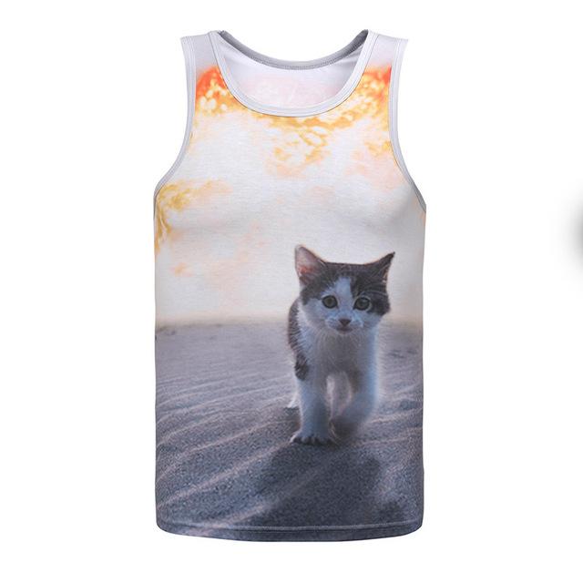 Лето новое поступление 3D жилет кошка печатных мужская летний без рукавов свободного ...