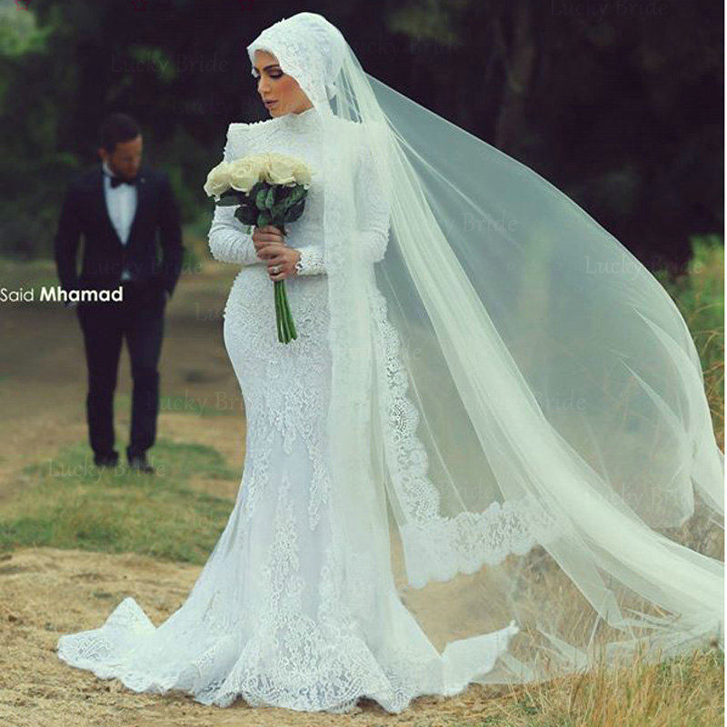 New arrival Malaysia long sleeve Lace Wedding Dresses 2015 Beading high neck Mermaid Bridal Gowns muslim vestido de noiva qw26(China (Mainland))