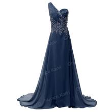 Elegant Fashion Women Summer Full Length One Shoulder Beads Bandage Prom dresses Chiffon evening Party Gown Long dress CL4506(China (Mainland))