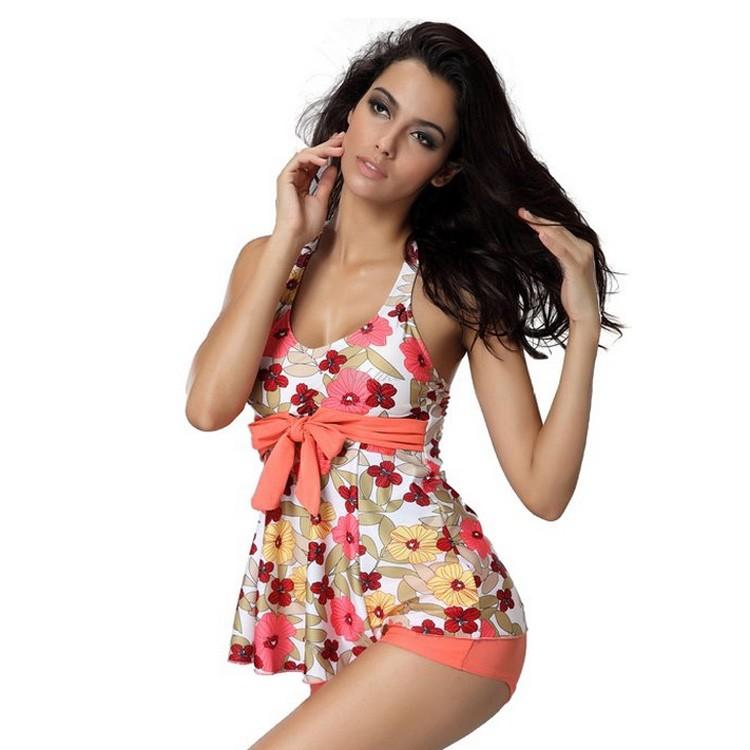 Women Sexy Floral Tankinis Set Halter Swimwear Sleeveless Top and Shorts Beach 2 Piece Set 25(China (Mainland))