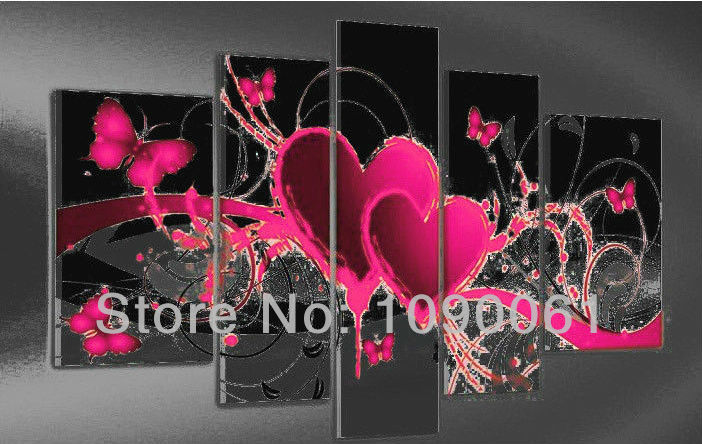 Black And Pink Wall Art - Elitflat