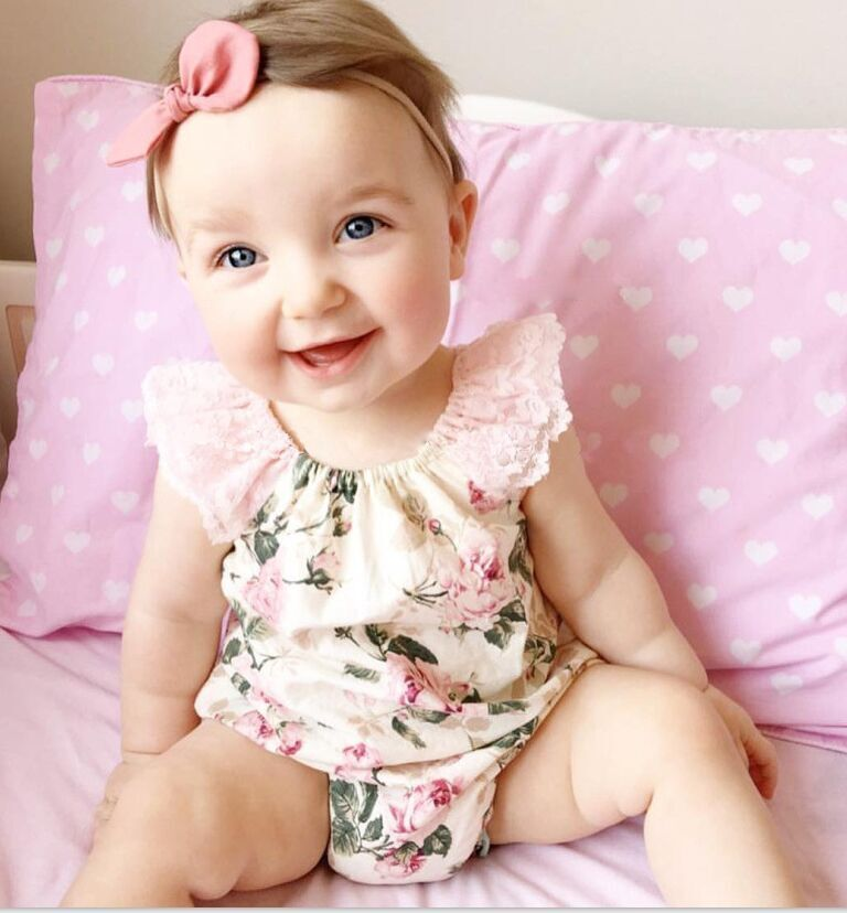 Baby Girls Rompers Infant Clothes Cute Floral Short Sleeve Newborn Baby Lace Romper One Piece Baby Clothing(China (Mainland))