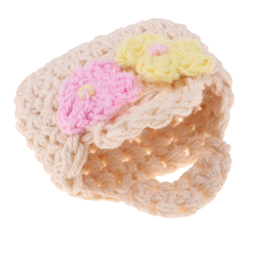 Pretty Cute Beige Knitted Handbag Bag Little Flowers Added For  Blythe Doll 1/6 BJD Licca Accessory Doll Clothing Collocation