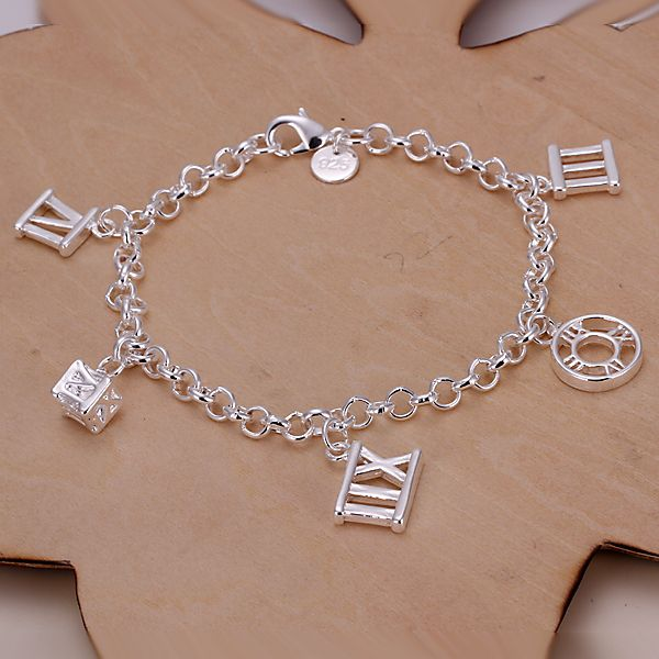 New arrival 925 sterling silver jewelry Cheap charm bracelets uk Rome five pendant silver bracelet H184(China (Mainland))