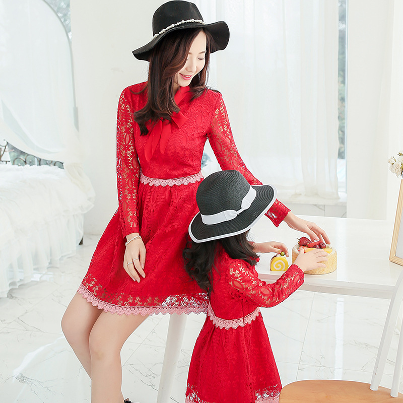 Free ship 2016 spring autumn korean style new mother and daughter dresses clothes bow princess lace dress roupa mae e filha(China (Mainland))