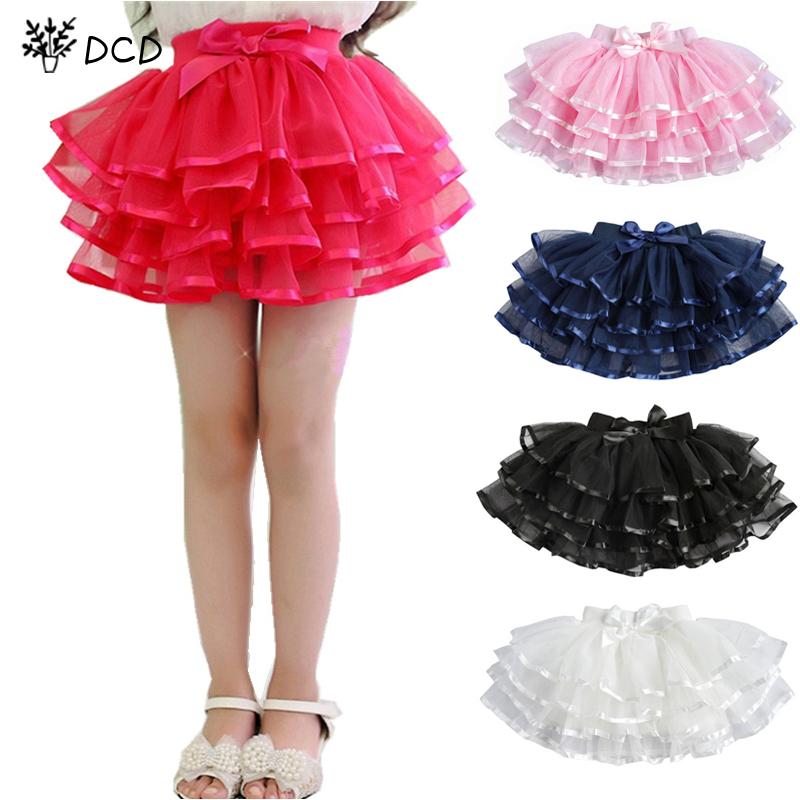 Tulle Fluffy Children Girls TuTu Skirts Girl Dance skirts With Satin Ribbon Bowknot Princess Layered skirt Bubble Skirt 3-14Y(China (Mainland))