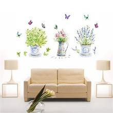 Fashion DIY wall stickers home decor potted flower pot butterfly kitchen window glass bathroom decals waterproof 60x90cm(China (Mainland))