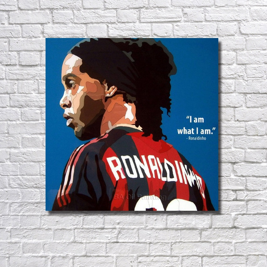 Handpainted Home Decor Pictures Ronaldinho Football Star Oil Painting Wall Decor Modern Abstract Handmade Canvas Painting Art(China (Mainland))