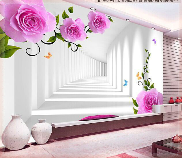 modern minimalist living room sofa TV background wallpaper wallpaper pink roses 3D stereo channel papeles pintados(China (Mainland))