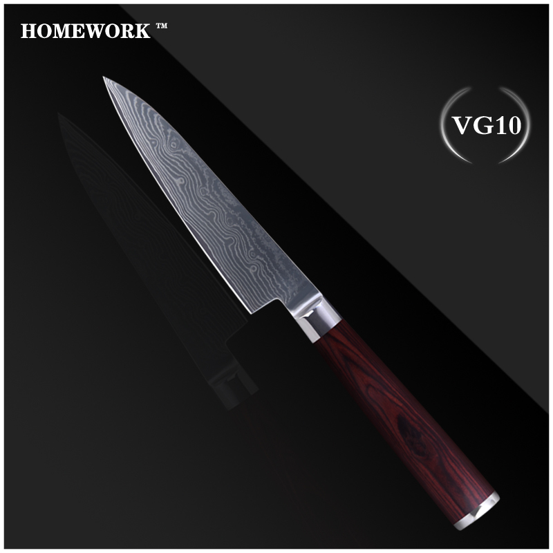 HOMEWORK VG10 damascus knives 5 inch pizza knife kitchen knives cooking tools 5 inch pizza Chinese knife new kitchen accessories(China (Mainland))