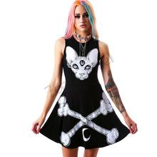 Fashion Summer Women dress 2015 Brand New Three Eyes Monster and Bones print black sexy dress short A-Line dress plus size(China (Mainland))