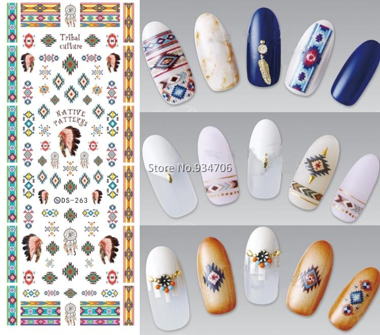 DS263 Design Water Transfer Nails Art Sticker Indian Style Vintage Cool Nail Wraps Sticker Watermark Fingernails Decals(China (Mainland))