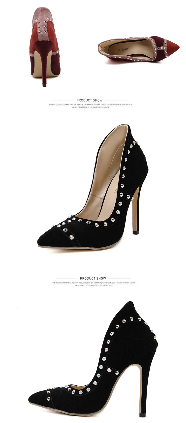 Size 4~9 Red Autumn Women Shoes New 2016 Rivets High Heels Shoes Black Women Pumps zapatos mujer (Check Foot Length)