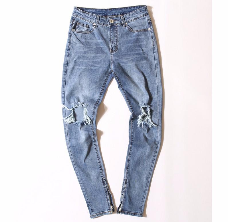 HIOFANDI High Quality Fashion Men's Pants Jumpsuit Urban Rock Star Distressed Skinny Designer Zipper Ripped Broken Hole Jeans