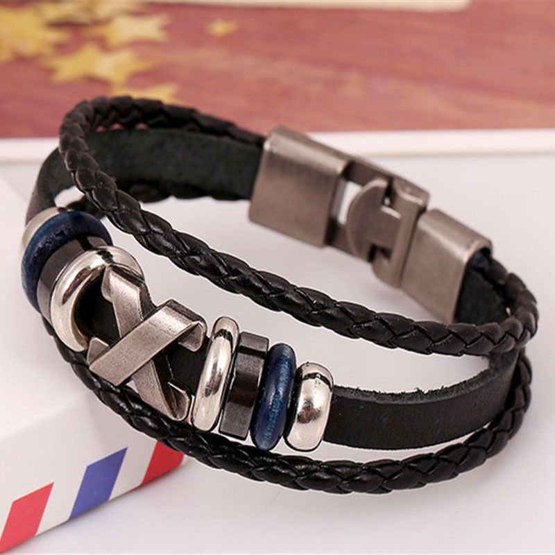 Cool Unisex Men Women Metal Studded Surfer Leather Bracelet Wristband Fashion xy12