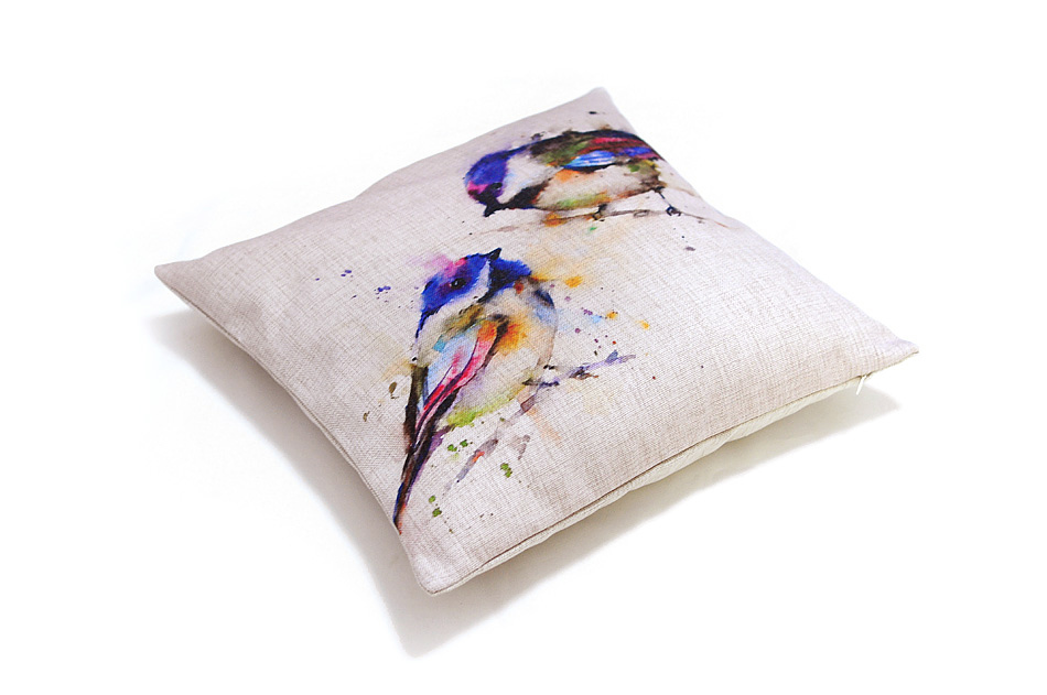Free shipping comfortable and stylish Cushions Home Decor The colorful ink painting Sofa Cushion bird pattern