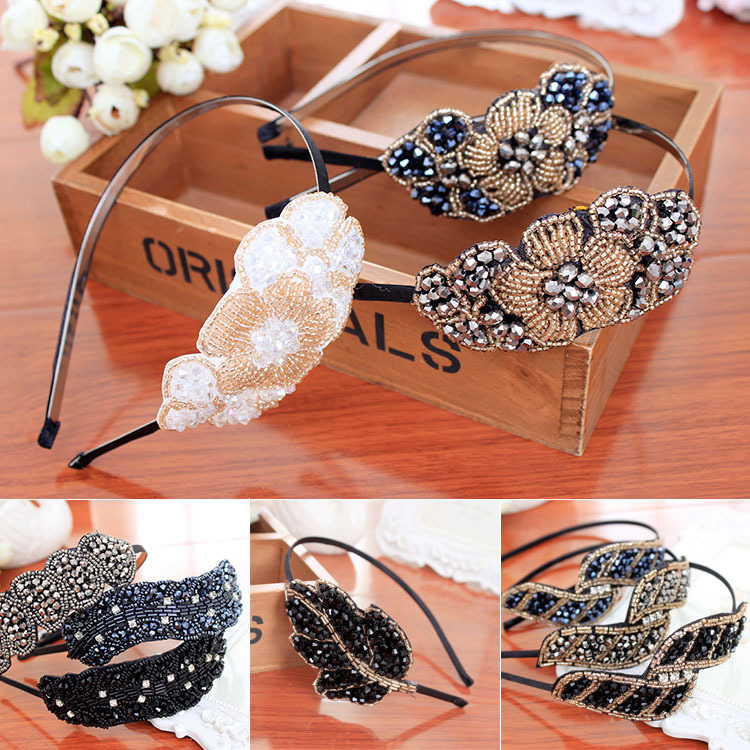 Fashional New Crystal & Acrylic Beads Decorated Bows Flowers Hairbands Headband for Girls Headwear Hair Accessories for Women(China (Mainland))
