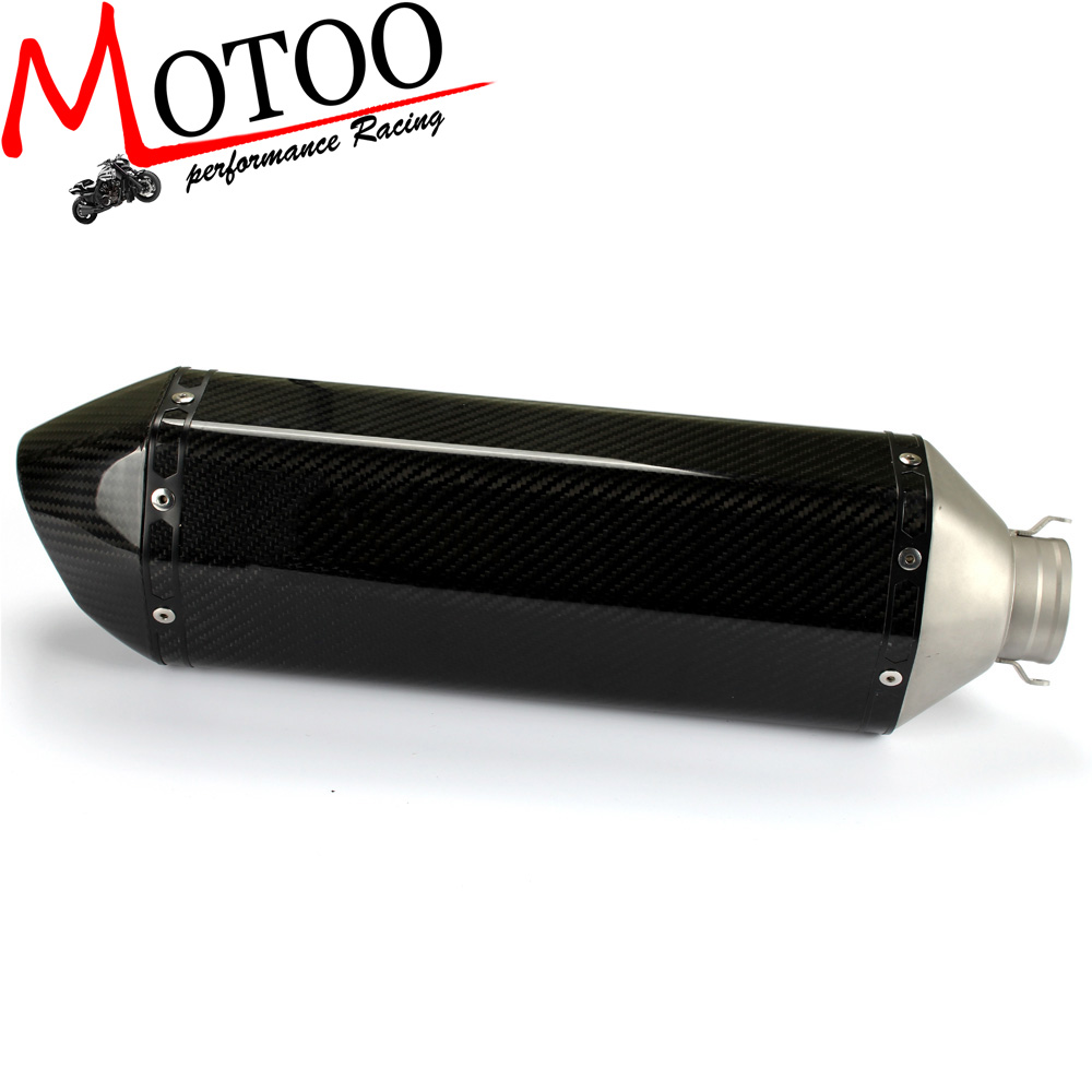 Motoo Carbon fiber 51mm font b motorcycle b font font b Exhaust b font Muffler with