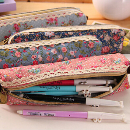 Cute Kawaii Floral Canvas Zipper Pencil Case Fabric Vintage Dot Lace Pen Bag for Kids Girls School Supplies Free shipping 117(China (Mainland))