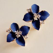 Chic nobile blu fiore placcato oro delle signore del rhinestone orecchini piercing orecchini brinco accessori donna spedizione gratuita(China (Mainland))