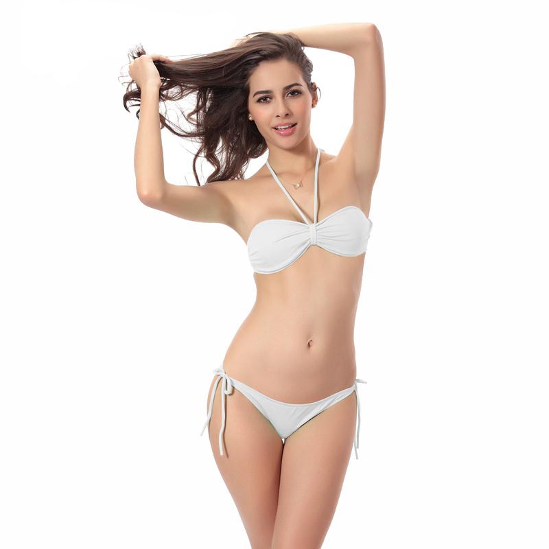 Summer New Style Bandeau Bikinis Set High Waist Solid Sling Swimsuit halter Sexy Brasileiro Biquini Hot Sale(China (Mainland))